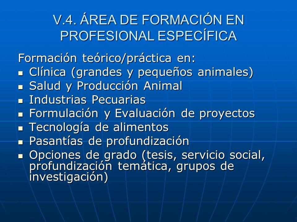 V.4. ÁREA DE FORMACIÓN EN PROFESIONAL ESPECÍFICA