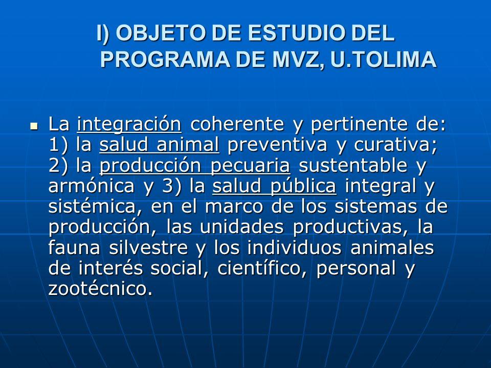 I) OBJETO DE ESTUDIO DEL PROGRAMA DE MVZ, U.TOLIMA