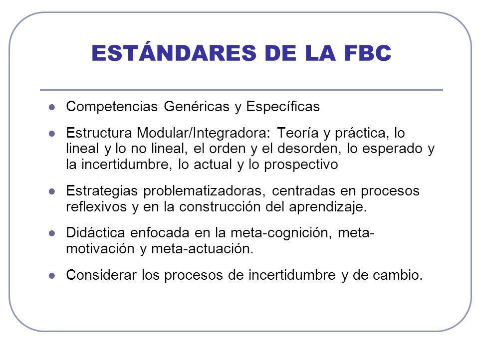 ESTÁNDARES DE LA FBC Competencias Genéricas y Específicas