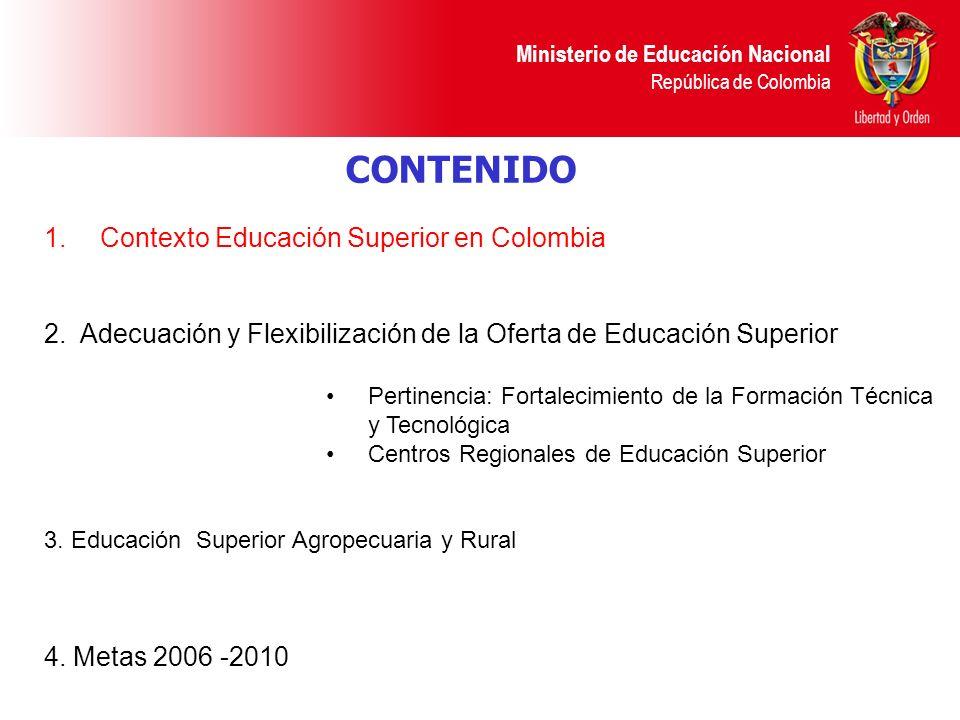 CONTENIDO Contexto Educación Superior en Colombia
