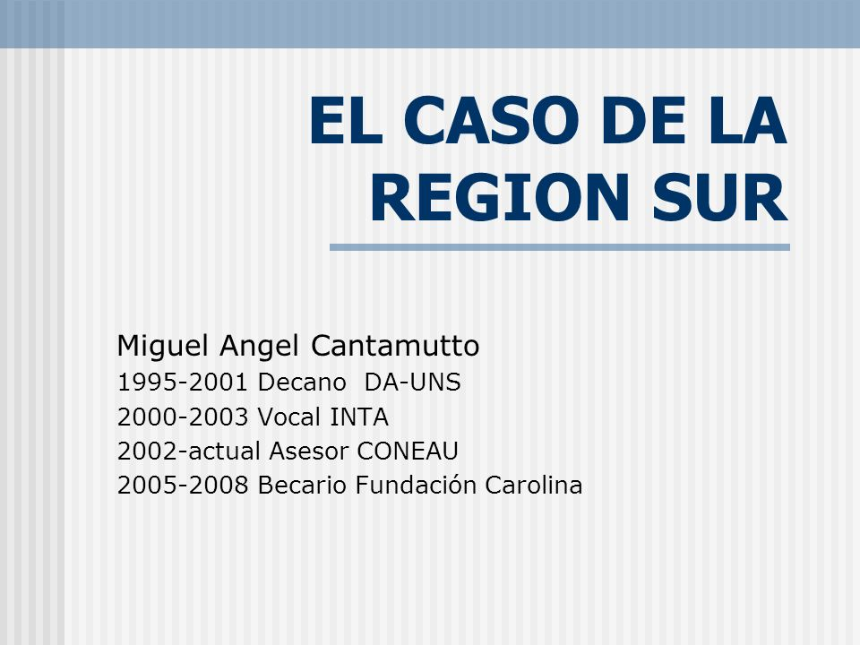 EL CASO DE LA REGION SUR Miguel Angel Cantamutto