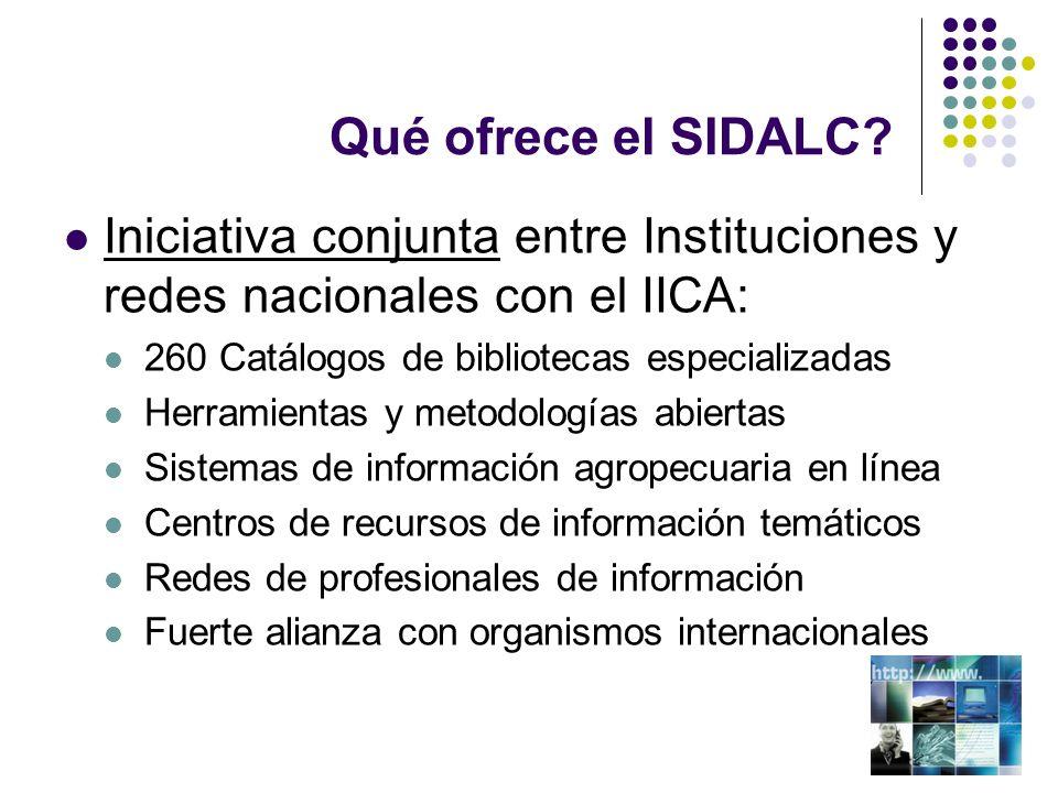 Qué ofrece el SIDALC Iniciativa conjunta entre Instituciones y redes nacionales con el IICA: 260 Catálogos de bibliotecas especializadas.