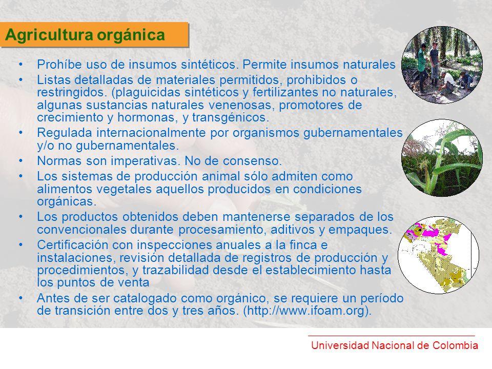 Agricultura orgánica Prohíbe uso de insumos sintéticos. Permite insumos naturales.