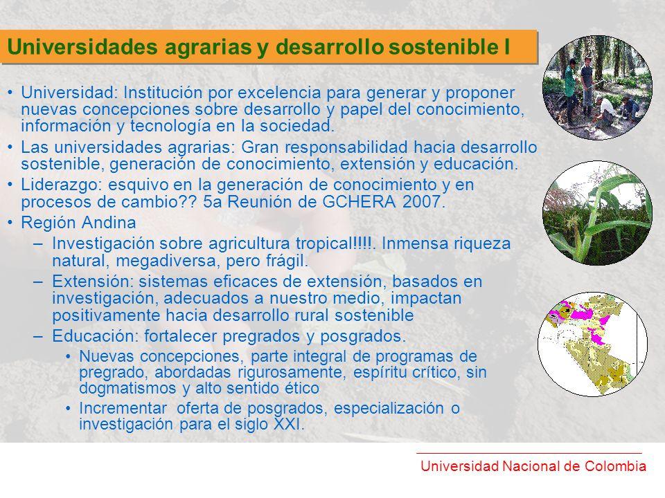 Universidades agrarias y desarrollo sostenible I