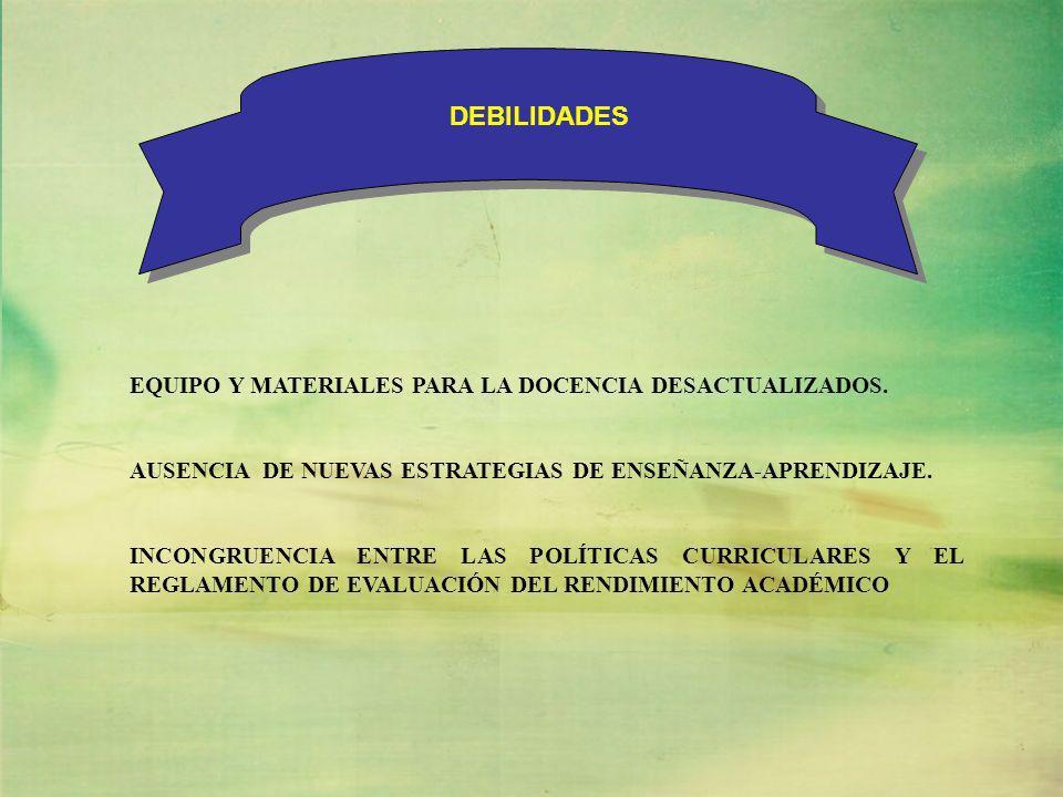 DEBILIDADES EQUIPO Y MATERIALES PARA LA DOCENCIA DESACTUALIZADOS.