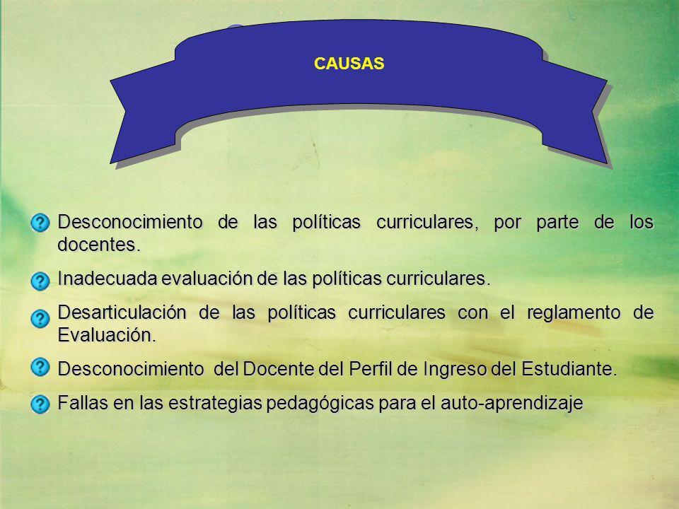 CAUSAS CAUSAS. Desconocimiento de las políticas curriculares, por parte de los docentes. Inadecuada evaluación de las políticas curriculares.