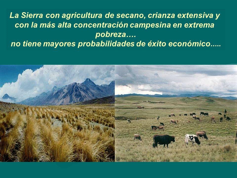 La Sierra con agricultura de secano, crianza extensiva y