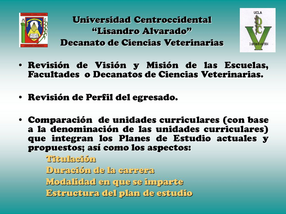 Universidad Centroccidental Lisandro Alvarado Decanato de Ciencias Veterinarias