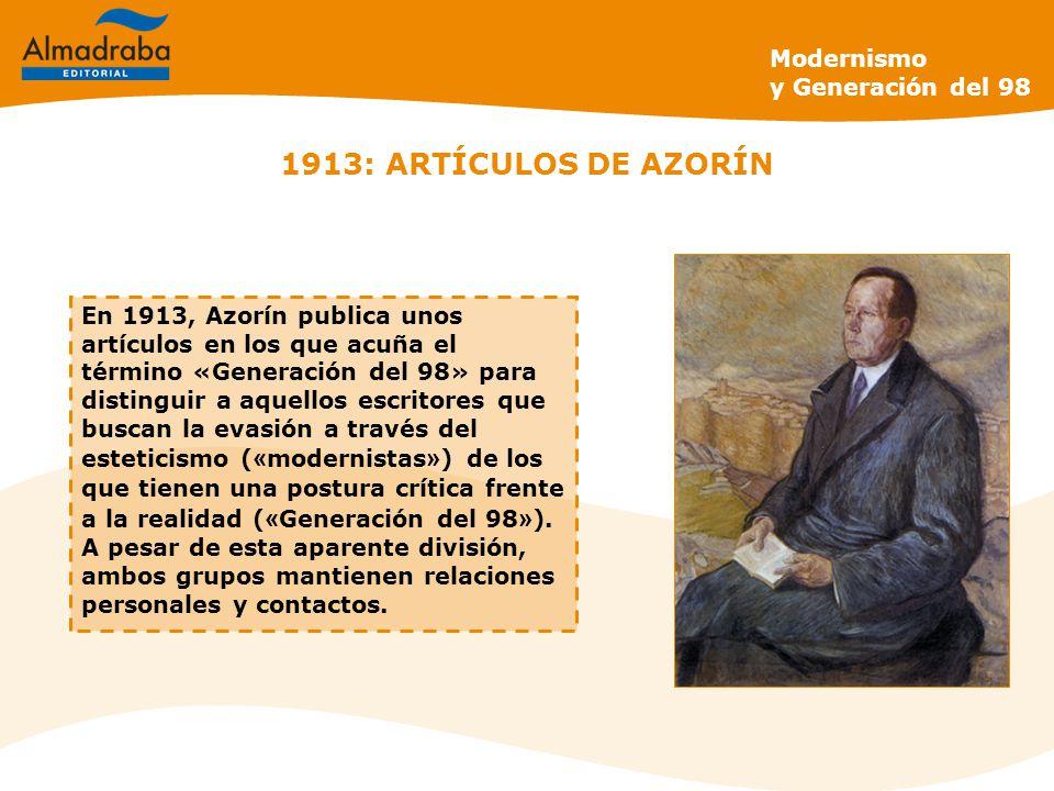 1913: ARTÍCULOS DE AZORÍN Modernismo y Generación del 98