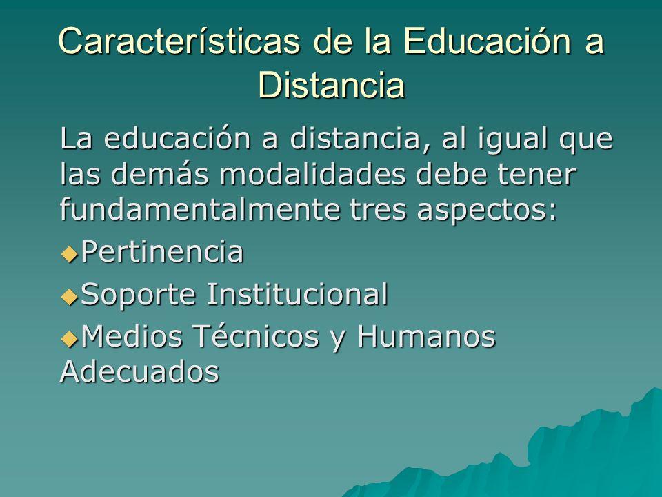 Características de la Educación a Distancia