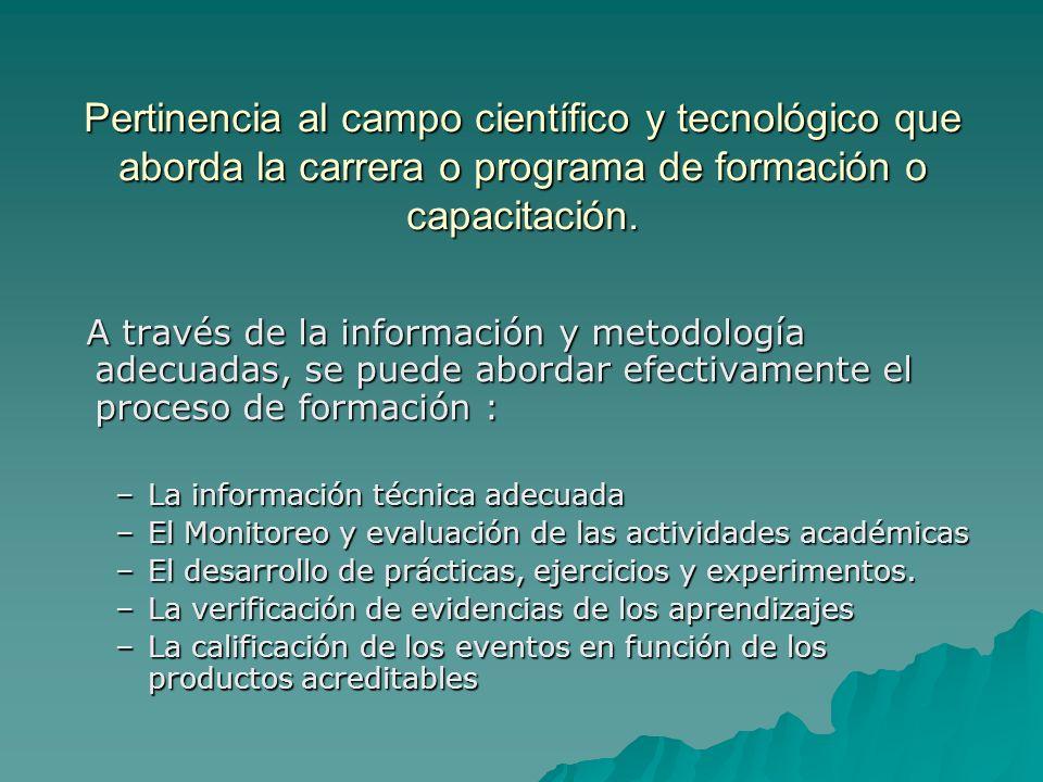 Pertinencia al campo científico y tecnológico que aborda la carrera o programa de formación o capacitación.