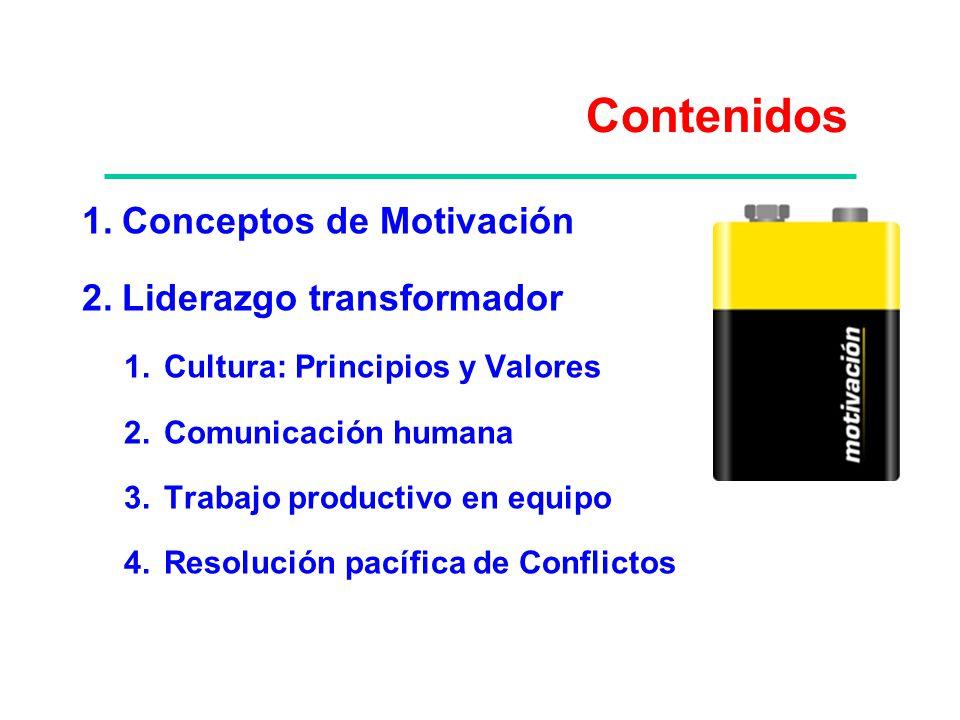 Contenidos Conceptos de Motivación Liderazgo transformador