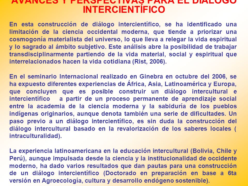 AVANCES Y PERSPECTIVAS PARA EL DIÁLOGO INTERCIENTÍFICO