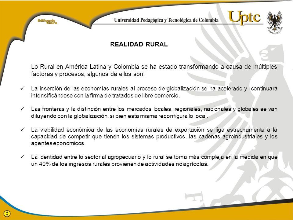 REALIDAD RURAL Lo Rural en América Latina y Colombia se ha estado transformando a causa de múltiples factores y procesos, algunos de ellos son: