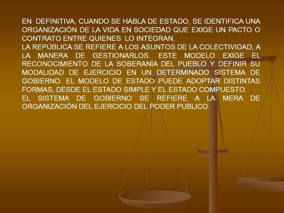 EN DEFINITIVA, CUANDO SE HABLA DE ESTADO, SE IDENTIFICA UNA ORGANIZACIÓN DE LA VIDA EN SOCIEDAD QUE EXIGE UN PACTO O CONTRATO ENTRE QUIENES LO INTEGRAN.