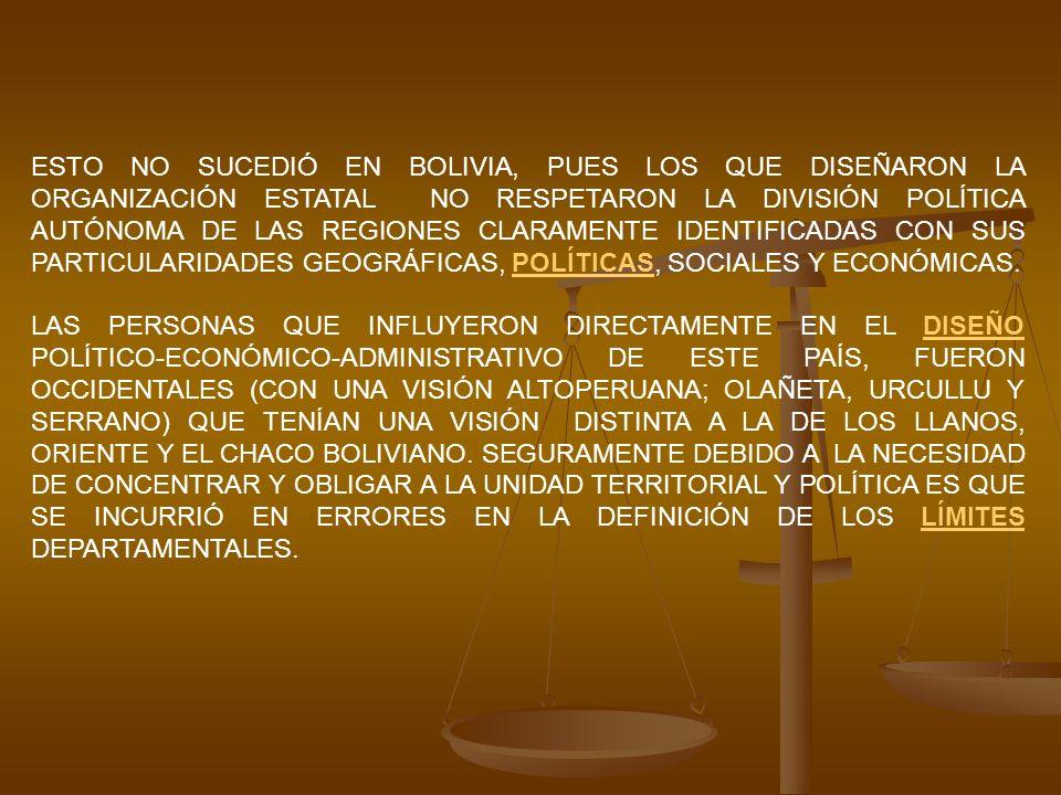 ESTO NO SUCEDIÓ EN BOLIVIA, PUES LOS QUE DISEÑARON LA ORGANIZACIÓN ESTATAL NO RESPETARON LA DIVISIÓN POLÍTICA AUTÓNOMA DE LAS REGIONES CLARAMENTE IDENTIFICADAS CON SUS PARTICULARIDADES GEOGRÁFICAS, POLÍTICAS, SOCIALES Y ECONÓMICAS.