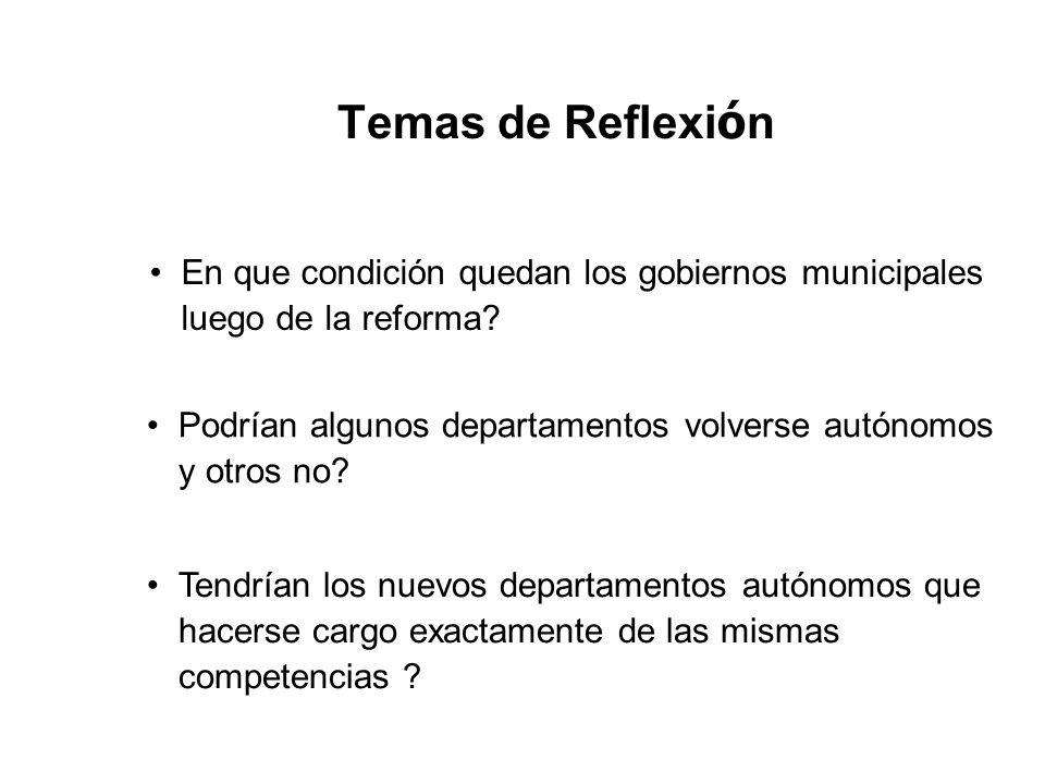 Temas de Reflexión En que condición quedan los gobiernos municipales luego de la reforma