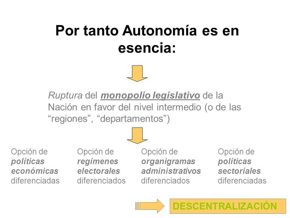 Por tanto Autonomía es en esencia: