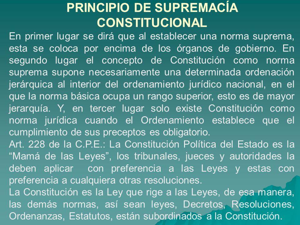 PRINCIPIO DE SUPREMACÍA CONSTITUCIONAL