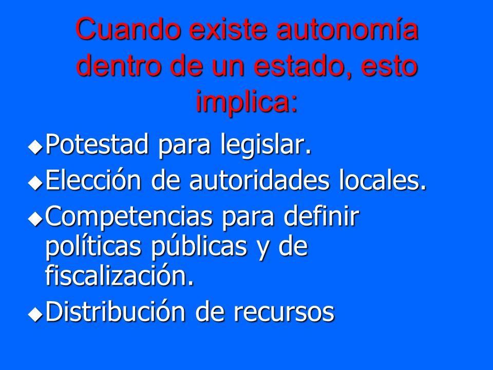 Cuando existe autonomía dentro de un estado, esto implica: