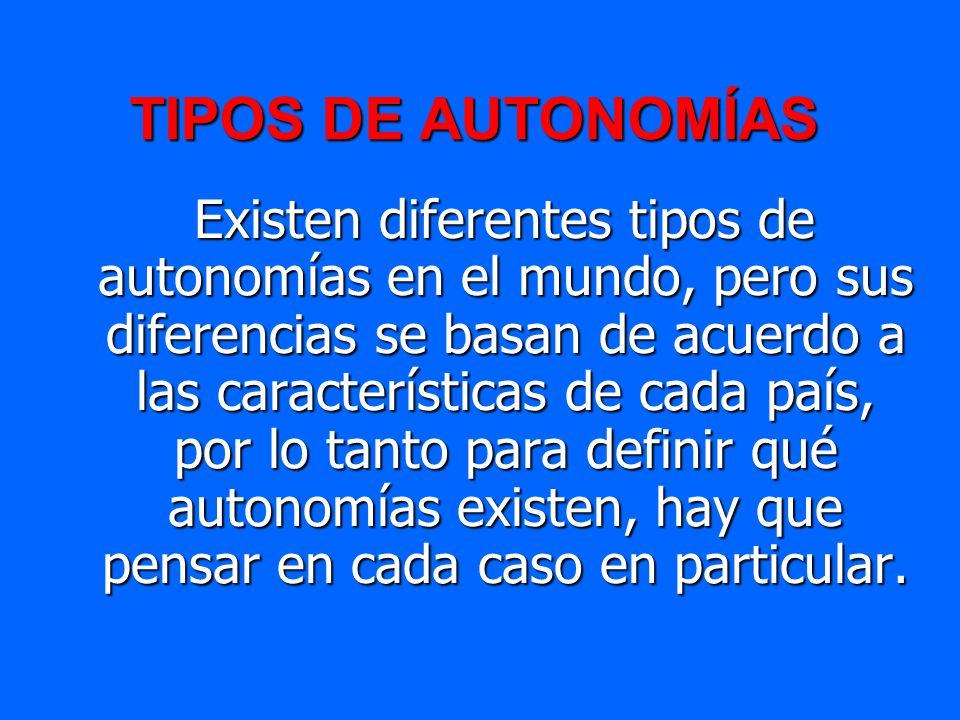 TIPOS DE AUTONOMÍAS