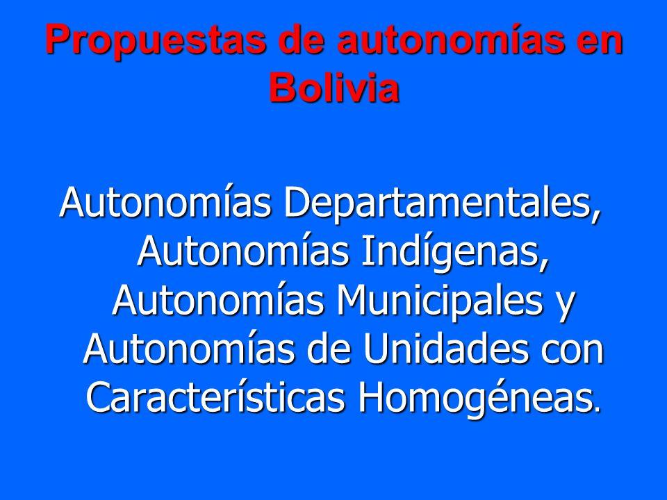 Propuestas de autonomías en Bolivia