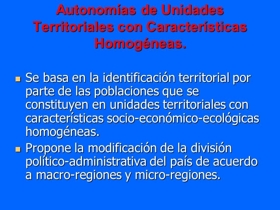 Autonomías de Unidades Territoriales con Características Homogéneas.