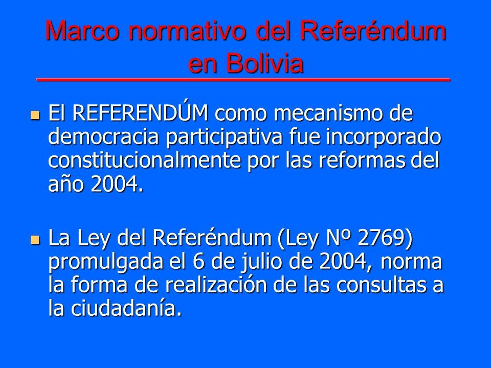 Marco normativo del Referéndum en Bolivia