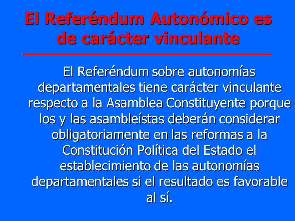 El Referéndum Autonómico es de carácter vinculante