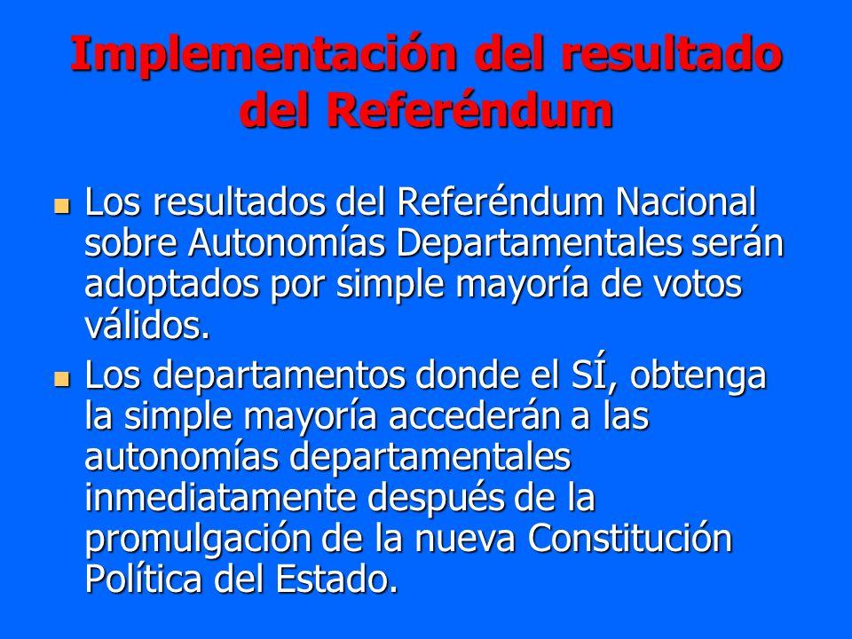 Implementación del resultado del Referéndum