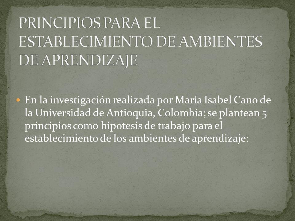 PRINCIPIOS PARA EL ESTABLECIMIENTO DE AMBIENTES DE APRENDIZAJE