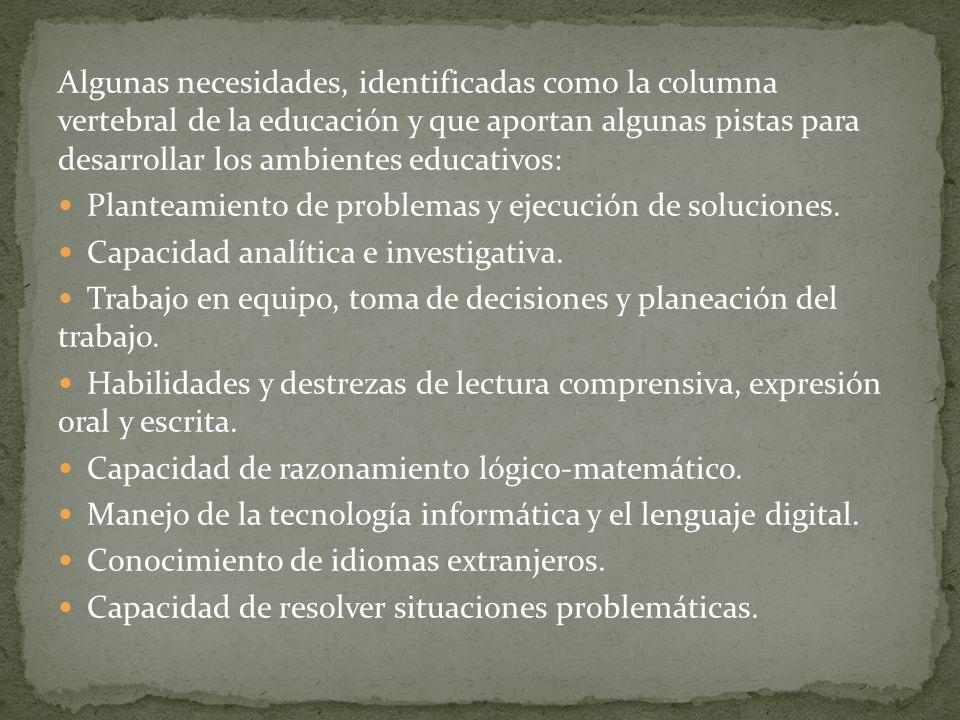 Algunas necesidades, identificadas como la columna vertebral de la educación y que aportan algunas pistas para desarrollar los ambientes educativos: