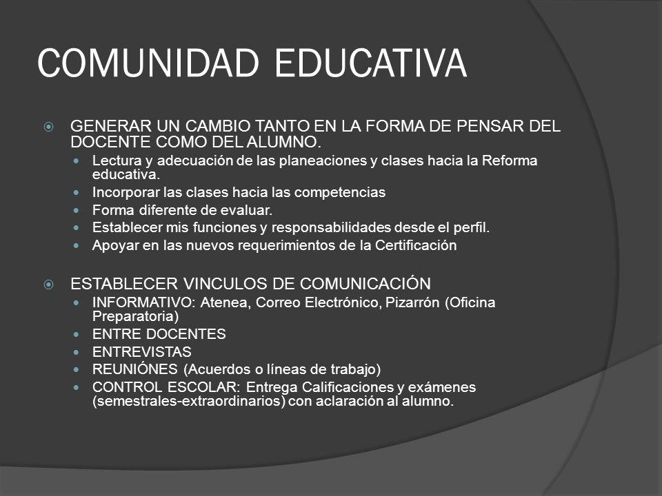 COMUNIDAD EDUCATIVA GENERAR UN CAMBIO TANTO EN LA FORMA DE PENSAR DEL DOCENTE COMO DEL ALUMNO.