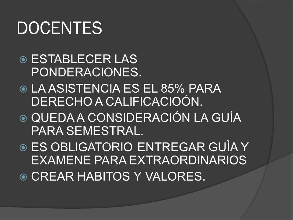 DOCENTES ESTABLECER LAS PONDERACIONES.