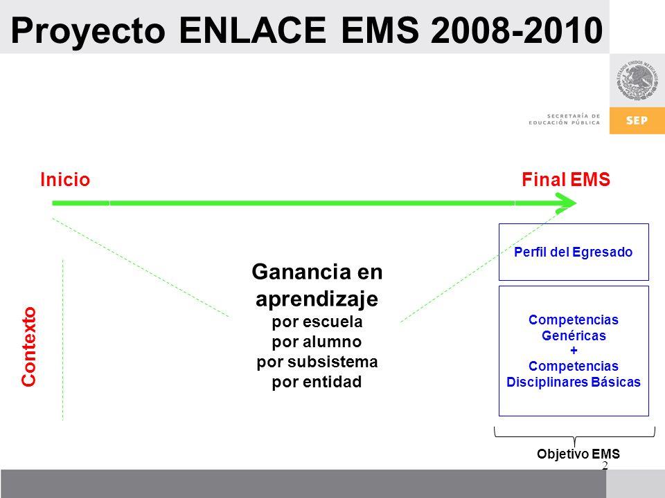 Proyecto ENLACE EMS 2008-2010 Ganancia en aprendizaje Inicio Final EMS