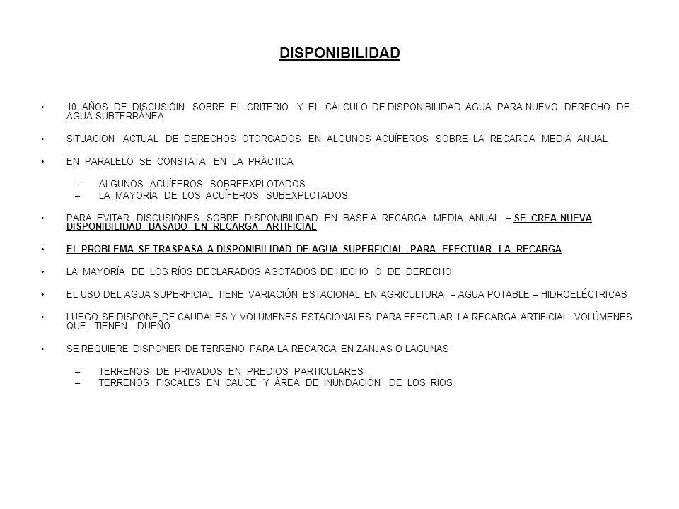 DISPONIBILIDAD 10 AÑOS DE DISCUSIÓIN SOBRE EL CRITERIO Y EL CÁLCULO DE DISPONIBILIDAD AGUA PARA NUEVO DERECHO DE AGUA SUBTERRÁNEA.