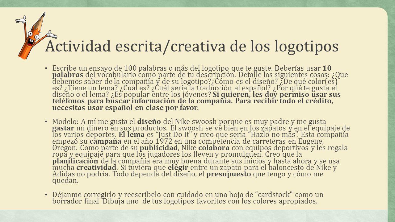 Actividad escrita/creativa de los logotipos