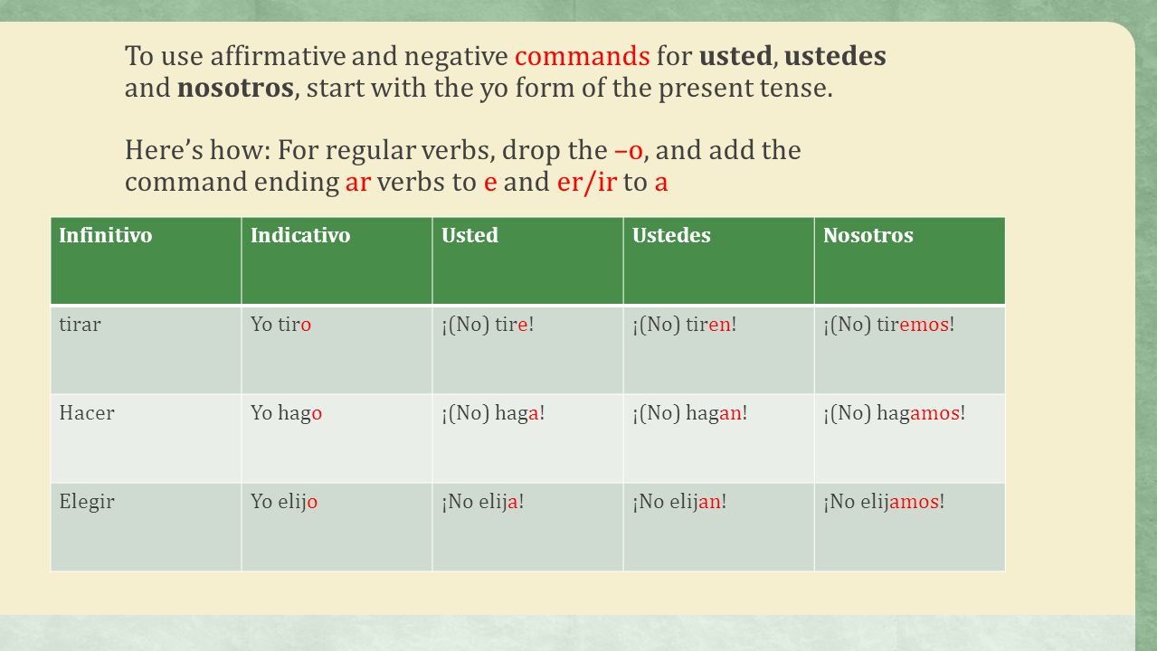 To use affirmative and negative commands for usted, ustedes