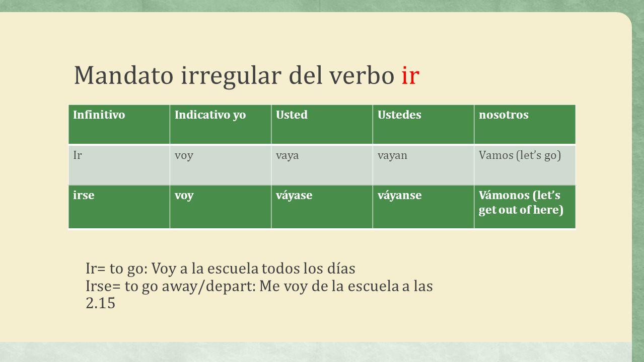 Mandato irregular del verbo ir