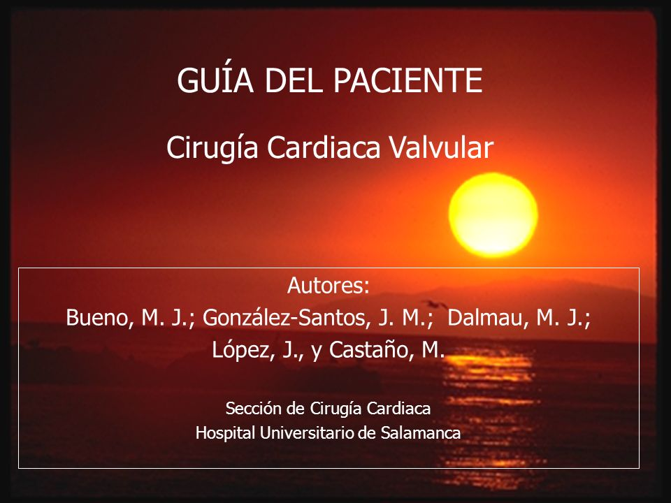 GUÍA DEL PACIENTE Cirugía Cardiaca Valvular Autores: