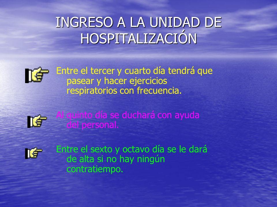INGRESO A LA UNIDAD DE HOSPITALIZACIÓN