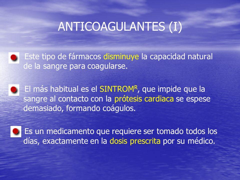 ANTICOAGULANTES (I) Este tipo de fármacos disminuye la capacidad natural de la sangre para coagularse.