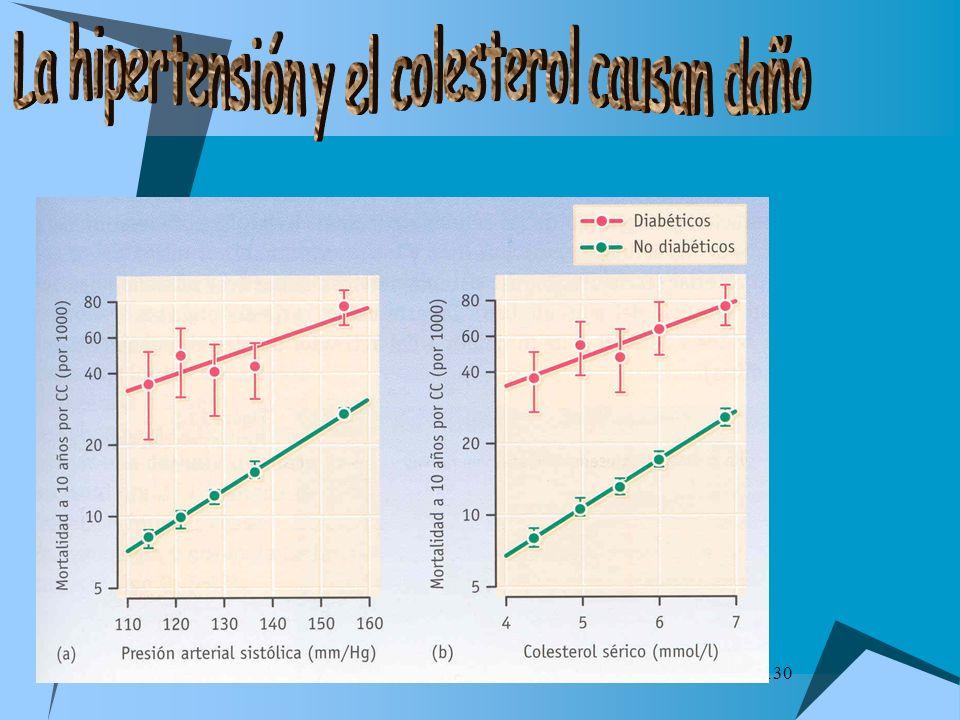 La hipertensión y el colesterol causan daño