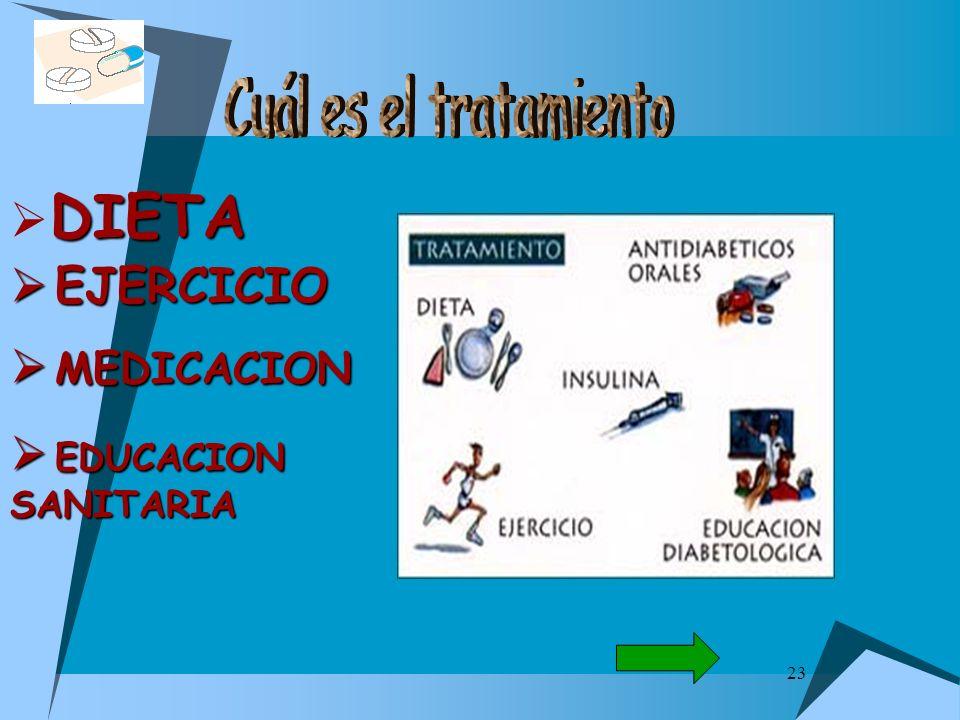 Cuál es el tratamiento EJERCICIO MEDICACION EDUCACION SANITARIA DIETA
