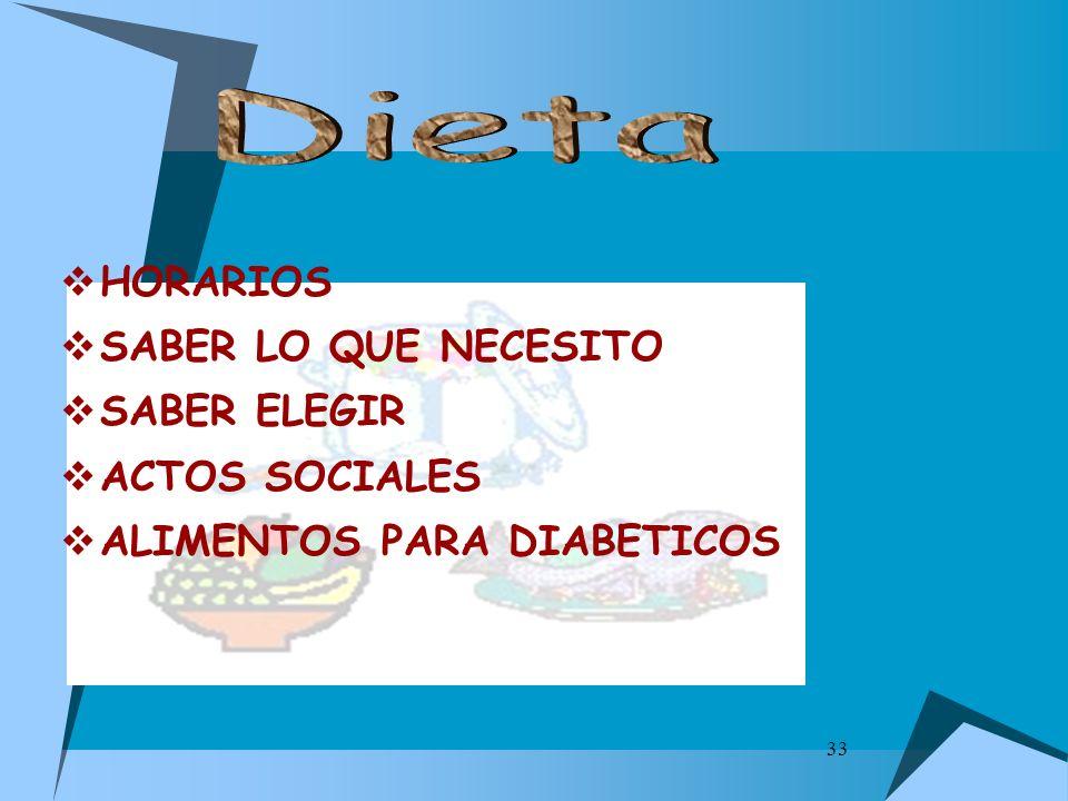 Dieta HORARIOS SABER LO QUE NECESITO SABER ELEGIR ACTOS SOCIALES