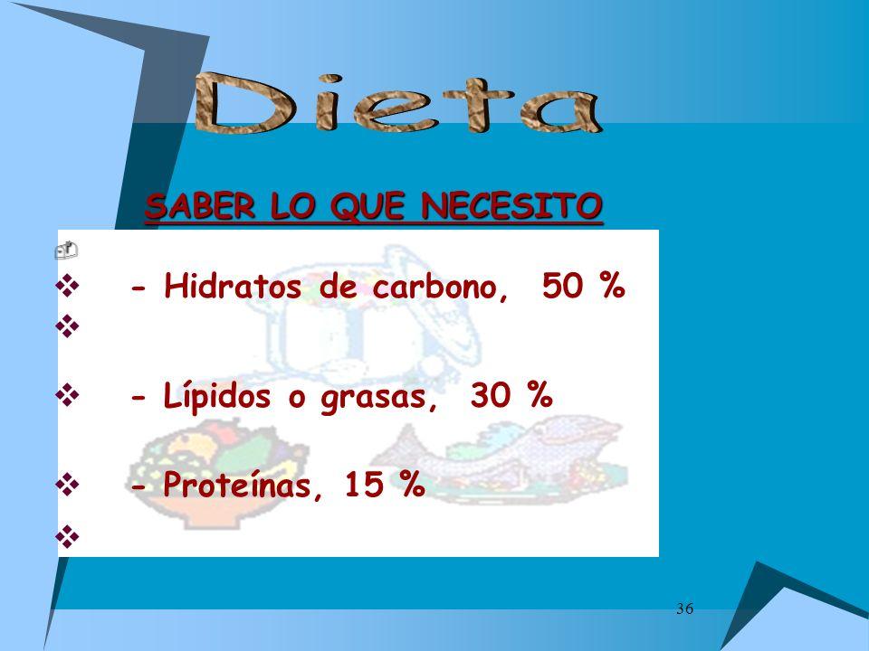 Dieta SABER LO QUE NECESITO - Hidratos de carbono, 50 %