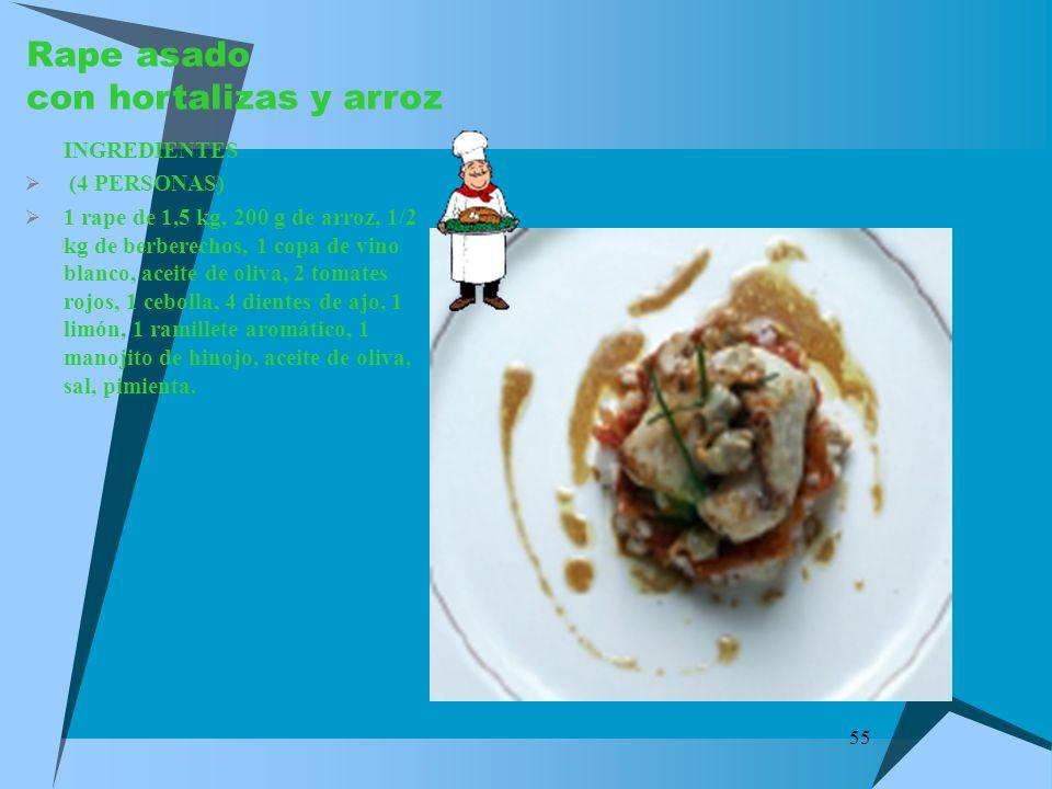 Rape asado con hortalizas y arroz
