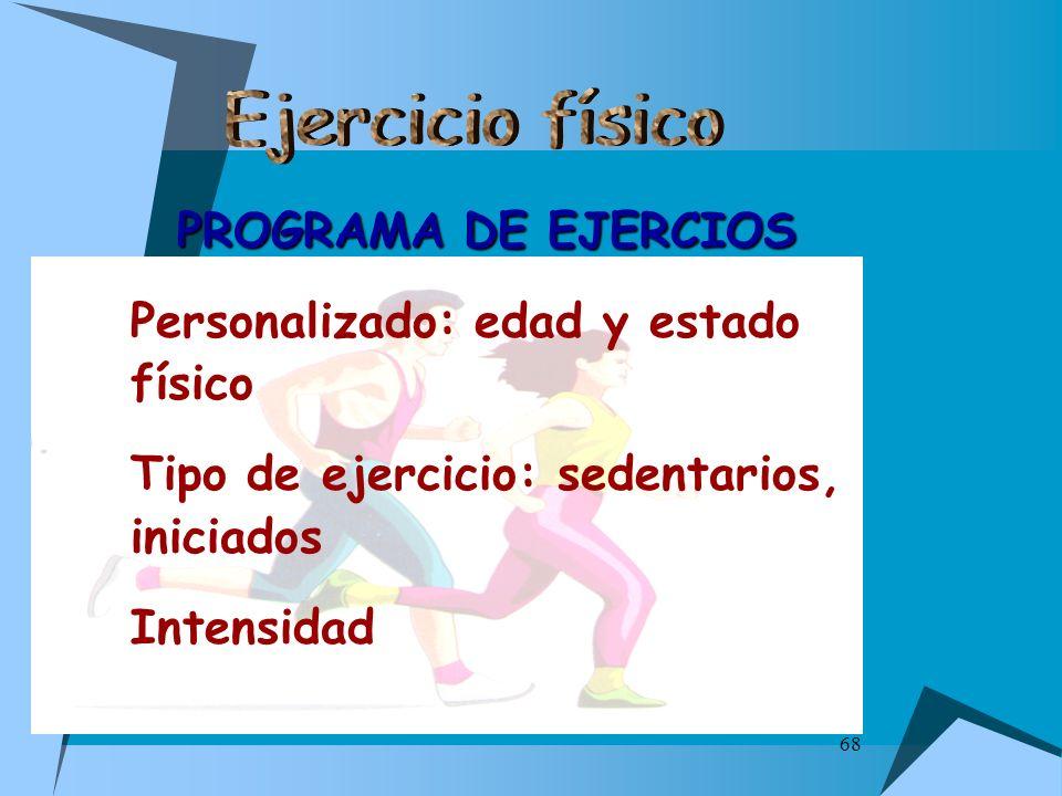 Ejercicio físico PROGRAMA DE EJERCIOS