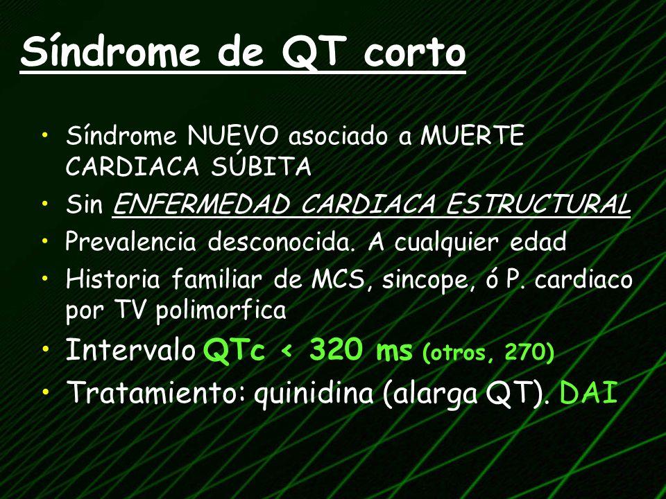 Síndrome de QT corto Intervalo QTc < 320 ms (otros, 270)