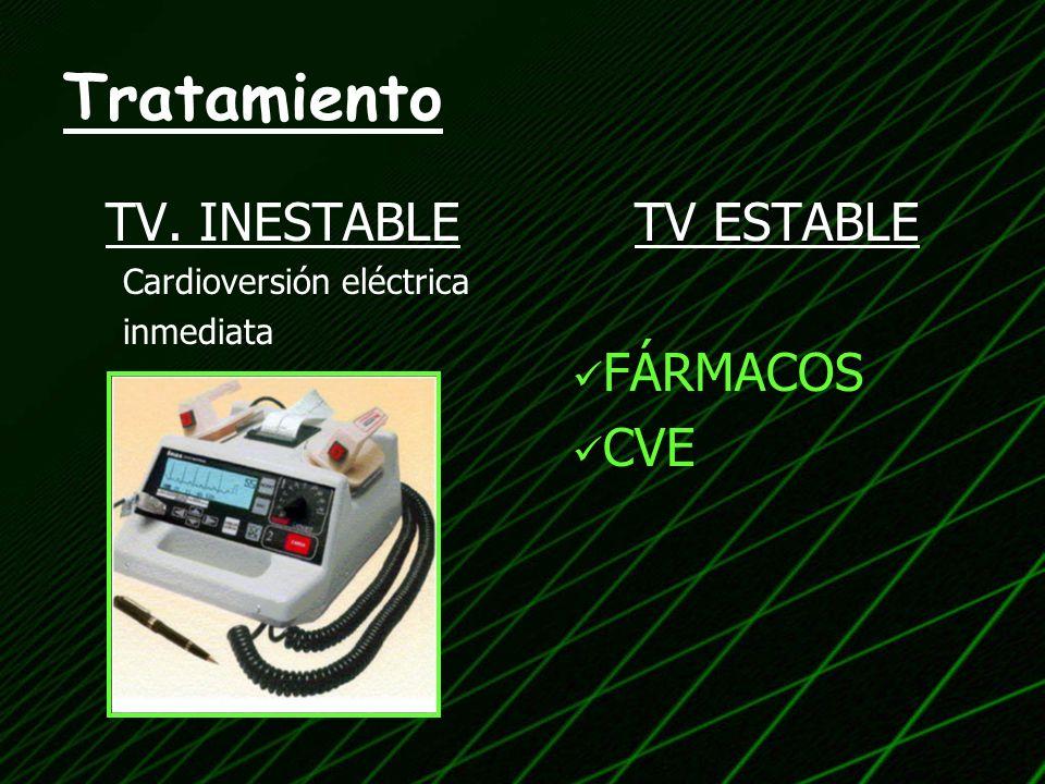 Tratamiento TV. INESTABLE TV ESTABLE FÁRMACOS CVE